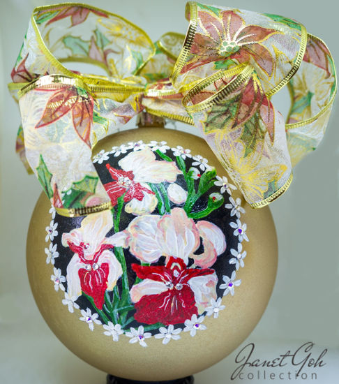 """Picture of 6"""" dia Hand painted Glass Ball - Orchids - Singapore series Christmas Tree Ornament"""