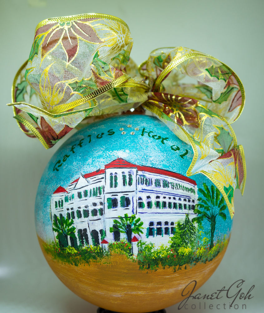 "Picture of 6"" dia Hand painted Glass Ball - Raffles Hotel - Singapore series Christmas Tree Ornament"