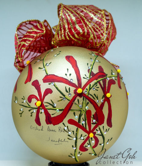 "Picture of 6"" dia Hand painted Glass Ball - Orchids Anna Black - Singapore series Christmas Tree Ornament"