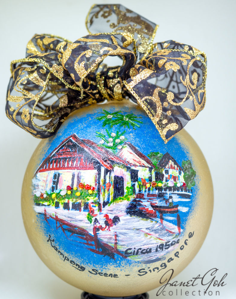 "Picture of 6"" dia Hand painted Glass Ball - Malay Kampong - Singapore series Christmas Tree Ornament"