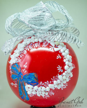 "Picture of 6"" dia Hand painted Glass Ball - Flora Wreath - Christmas Tree Ornament"