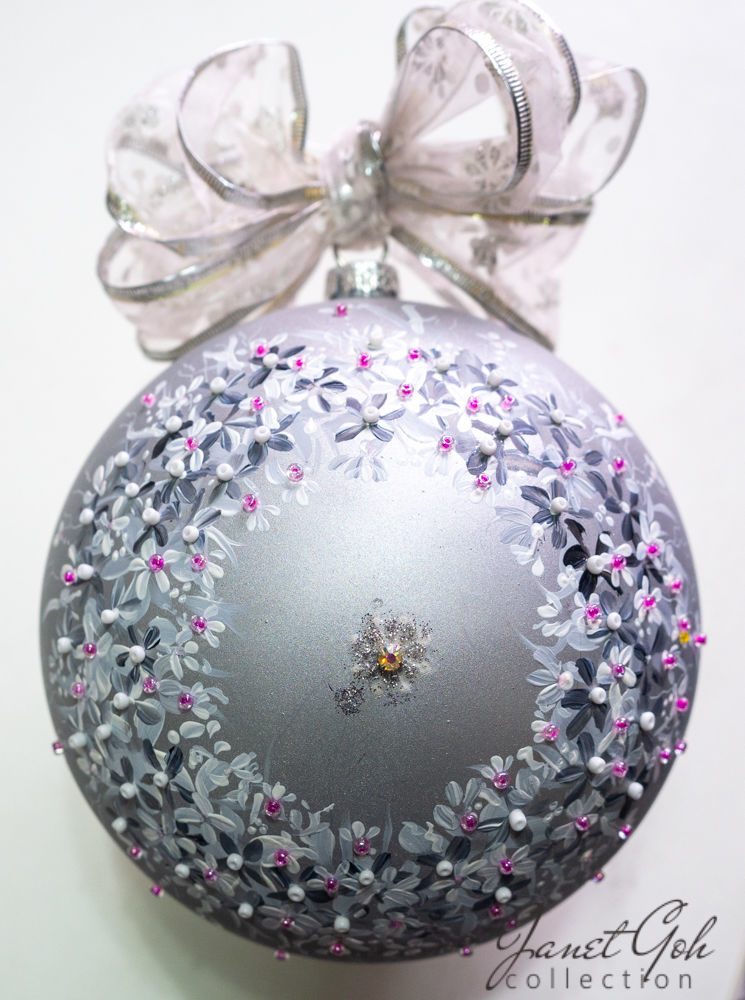 """Picture of 6"""" dia Hand painted Glass Ball - Silver Pansies - Christmas Tree Ornament"""