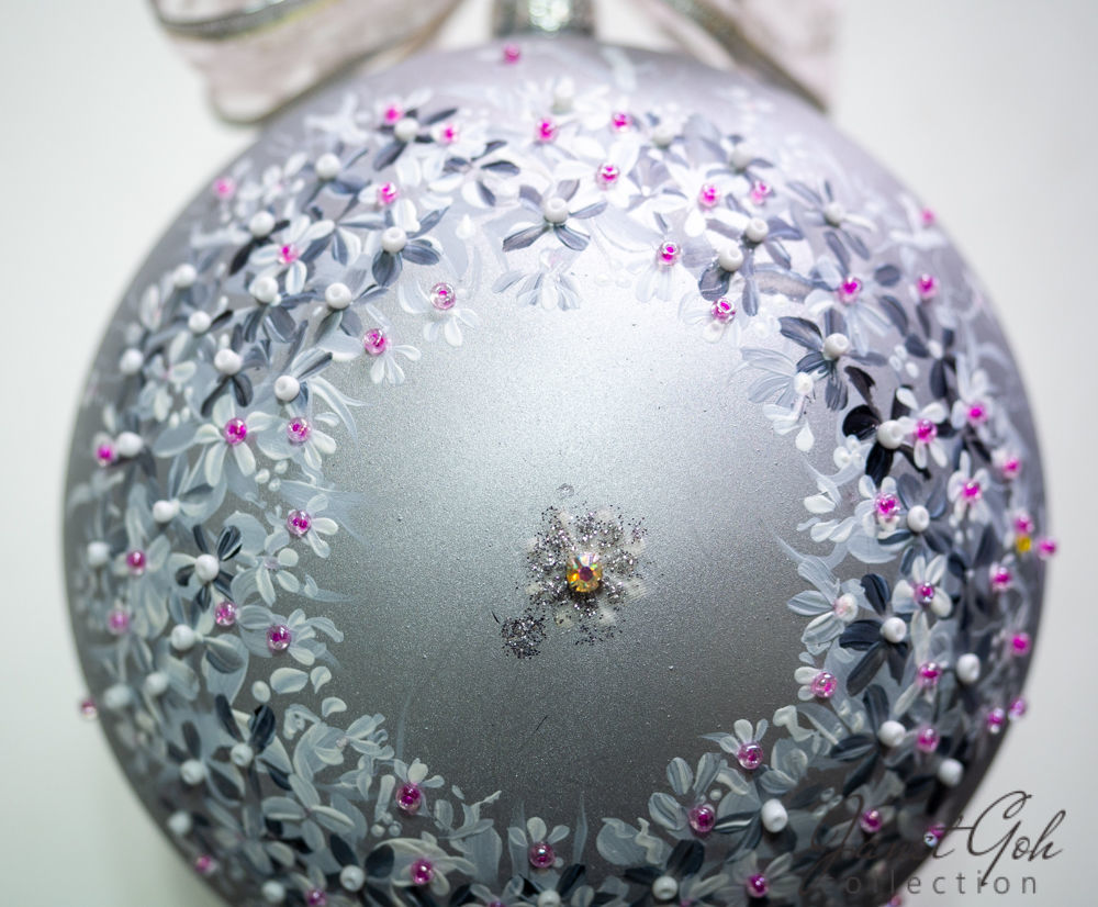 "Picture of 6"" dia Hand painted Glass Ball - Silver Pansies - Christmas Tree Ornament"