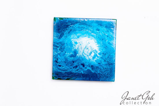 Picture of 12-inch Square - Blue - Acrylic Pour Painting