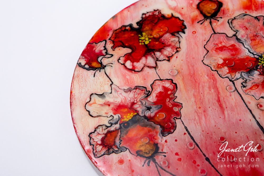 Picture of 10-inch Round - Red Flowers - Acrylic Pour Painting