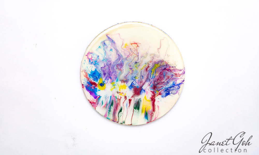 Picture of 10-inch Round - Iris Abstract - Acrylic Pour Painting