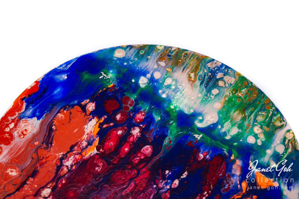Picture of 10-inch Round - Molten - Acrylic Pour Painting