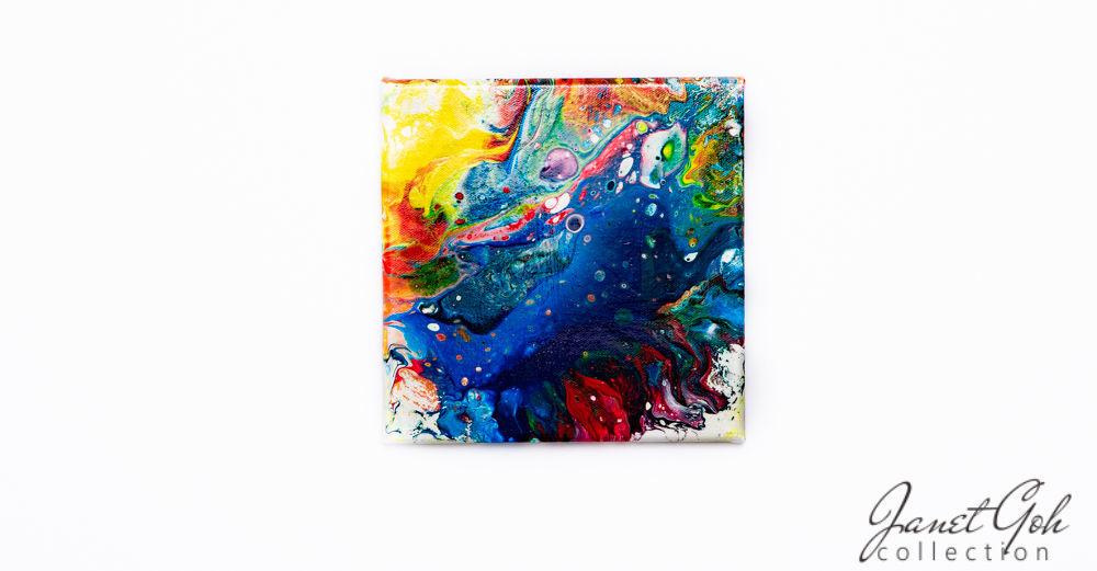 Picture of 8-inch Square - Interplanetary - Acrylic Pour Painting