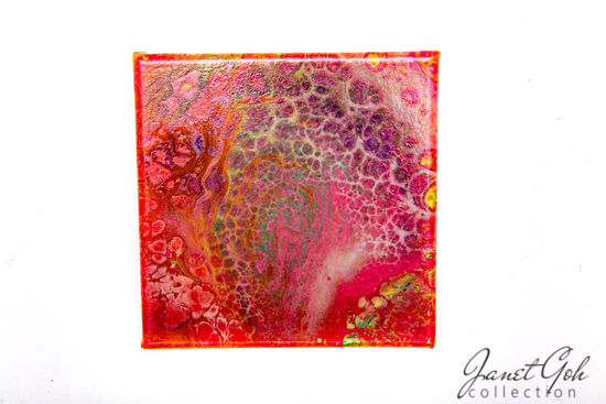Picture of 8-inch Square - Red Leather - Acrylic Pour Painting