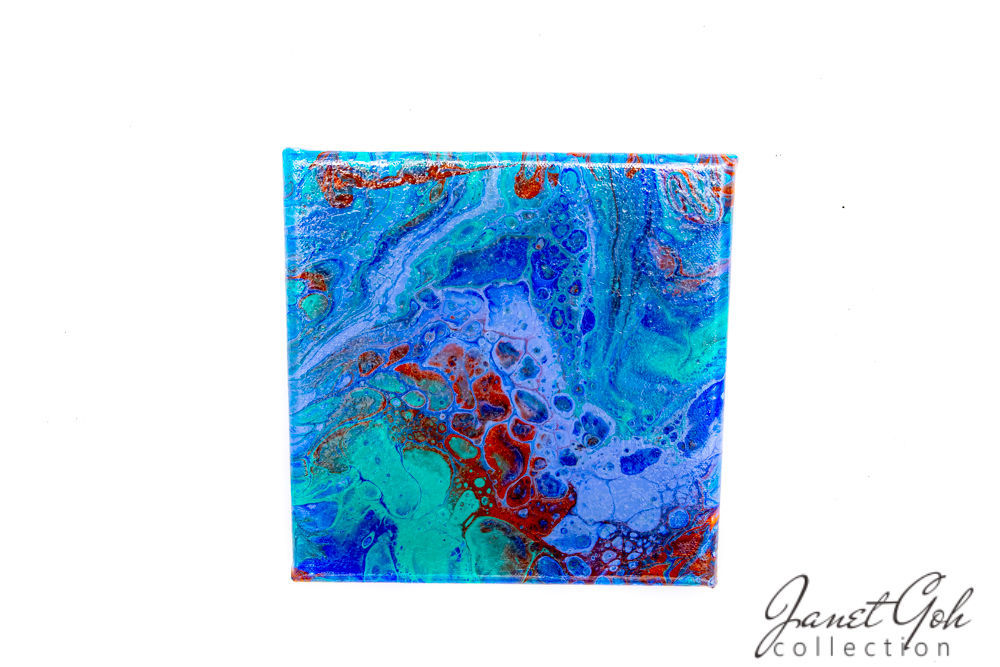 Picture of 8-inch Square - Blue Cells - Acrylic Pour Painting