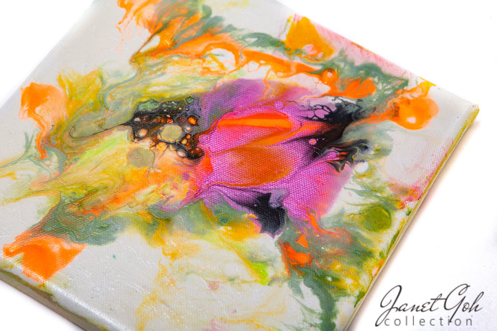 Picture of 8-inch Square - Abstract Floral with Orange Highlights - Acrylic Pour Painting