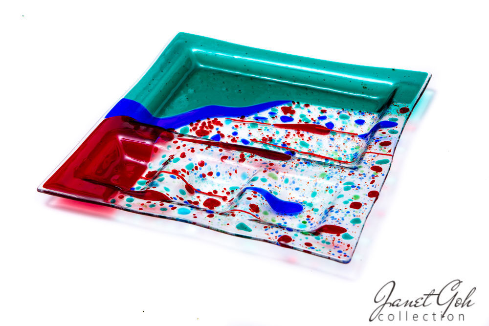 Picture of 11-inch Square Fused Glass Sushi Plate - Festival