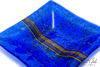 Picture of 8-inch Square Fused Glass Ash Tray - Blue w/stringers