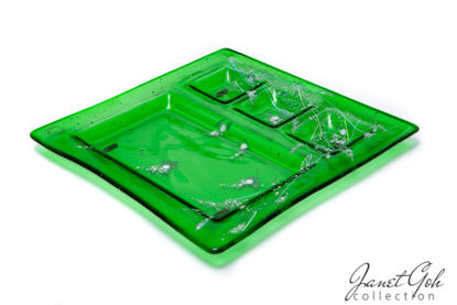 Picture of 12-inch Square Fused Glass Sushi Plate - Green Spring