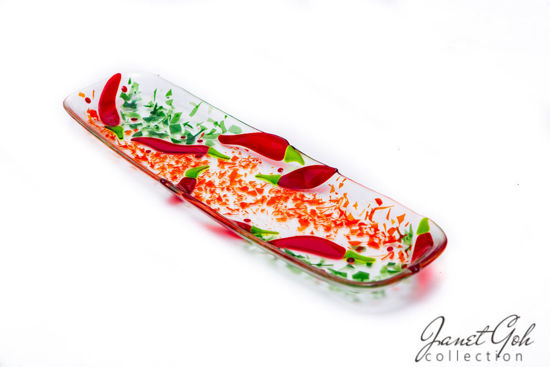 Picture of 18-inch by 5-inch Fused Glass Tray - Chillies