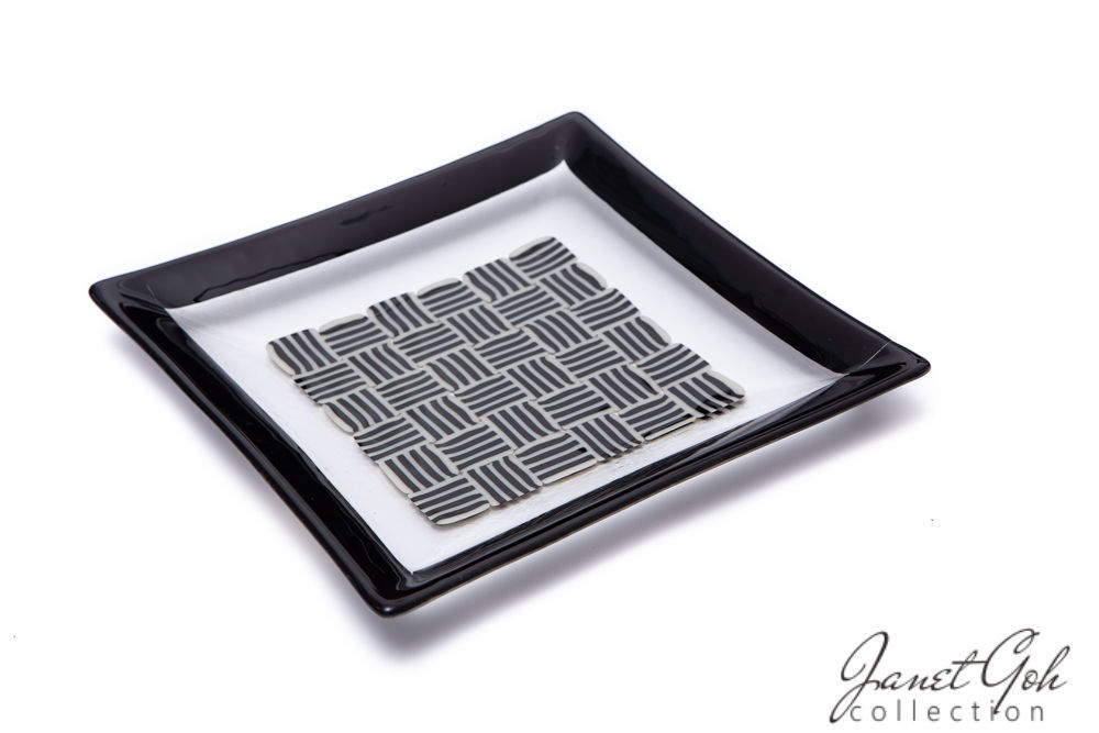 Picture of 11-inch Square Fused Glass Plate - Black on white